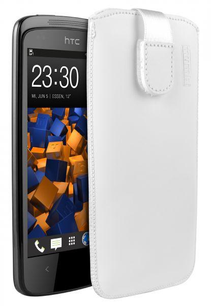 Leder Etui Tasche mit Ausziehlasche weiß für HTC Desire 500