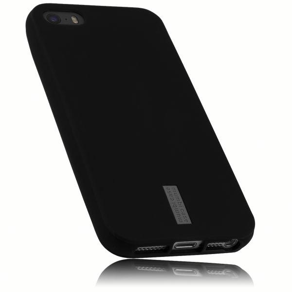 TPU Hülle anthrazit mit Logo für Apple iPhone SE / 5 / 5s