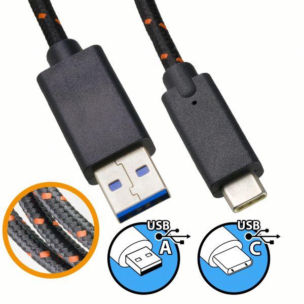 USB 3.0 Daten- und Ladekabel Nylonmantel 2m - USB A auf USB C Stecker