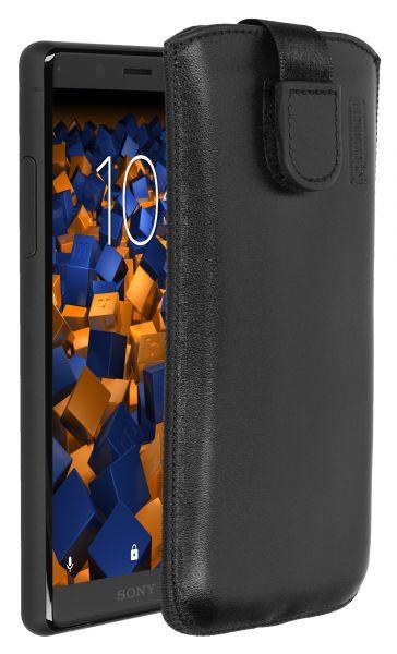 Leder Etui Tasche mit Ausziehlasche schwarz für Sony Xperia XZ2 Compact