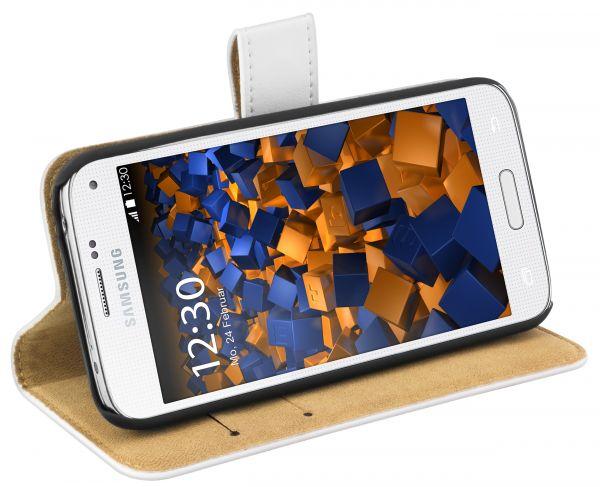 Bookstyle Ledertasche weiß für Samsung Galaxy S5 Mini