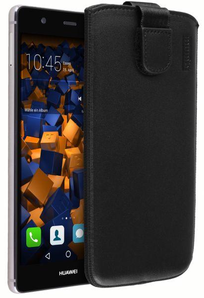 Leder Etui Tasche mit Ausziehlasche schwarz für Huawei P9 Plus