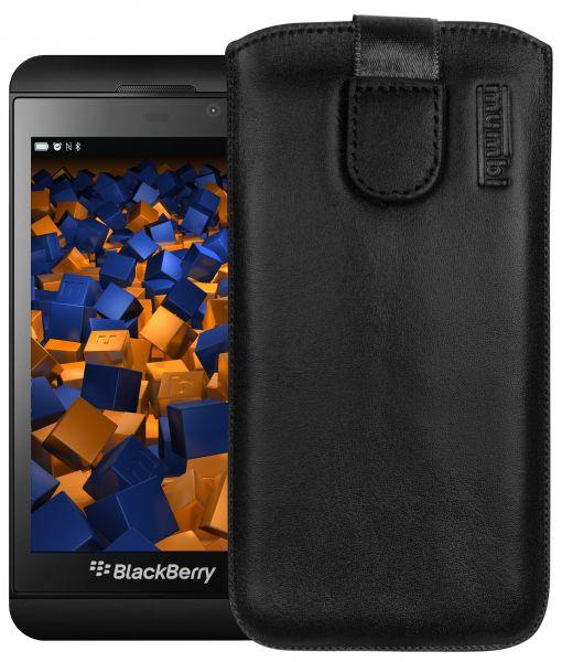 Leder Etui Tasche mit Ausziehlasche schwarz für BlackBerry Z10