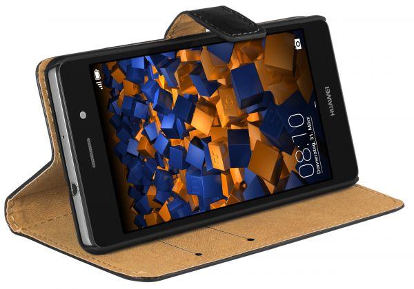 Bookstyle Ledertasche schwarz für Huawei P8 Lite (2015)