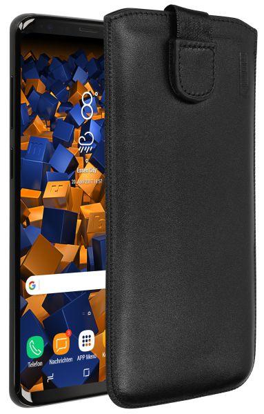 Leder Etui Tasche mit Ausziehlasche schwarz für Samsung Galaxy S9 Plus