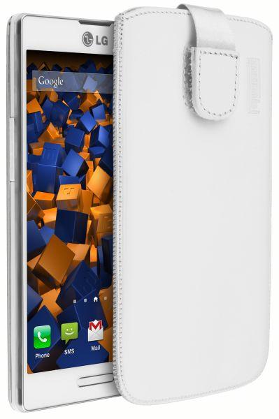 Leder Etui Tasche mit Ausziehlasche weiß für LG P760 Optimus L9