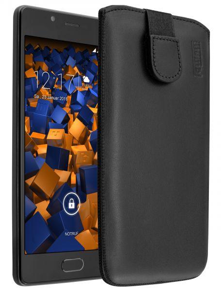 Leder Etui Tasche mit Ausziehlasche schwarz für Wiko U Feel Lite