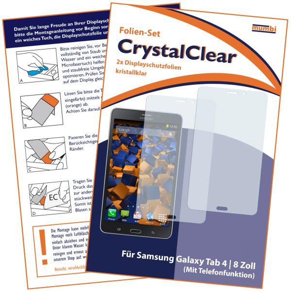 Displayschutzfolie 2 Stck. CrystalClear für Samsung Galaxy Tab 4 (8 Zoll) mit Telefonfunktion