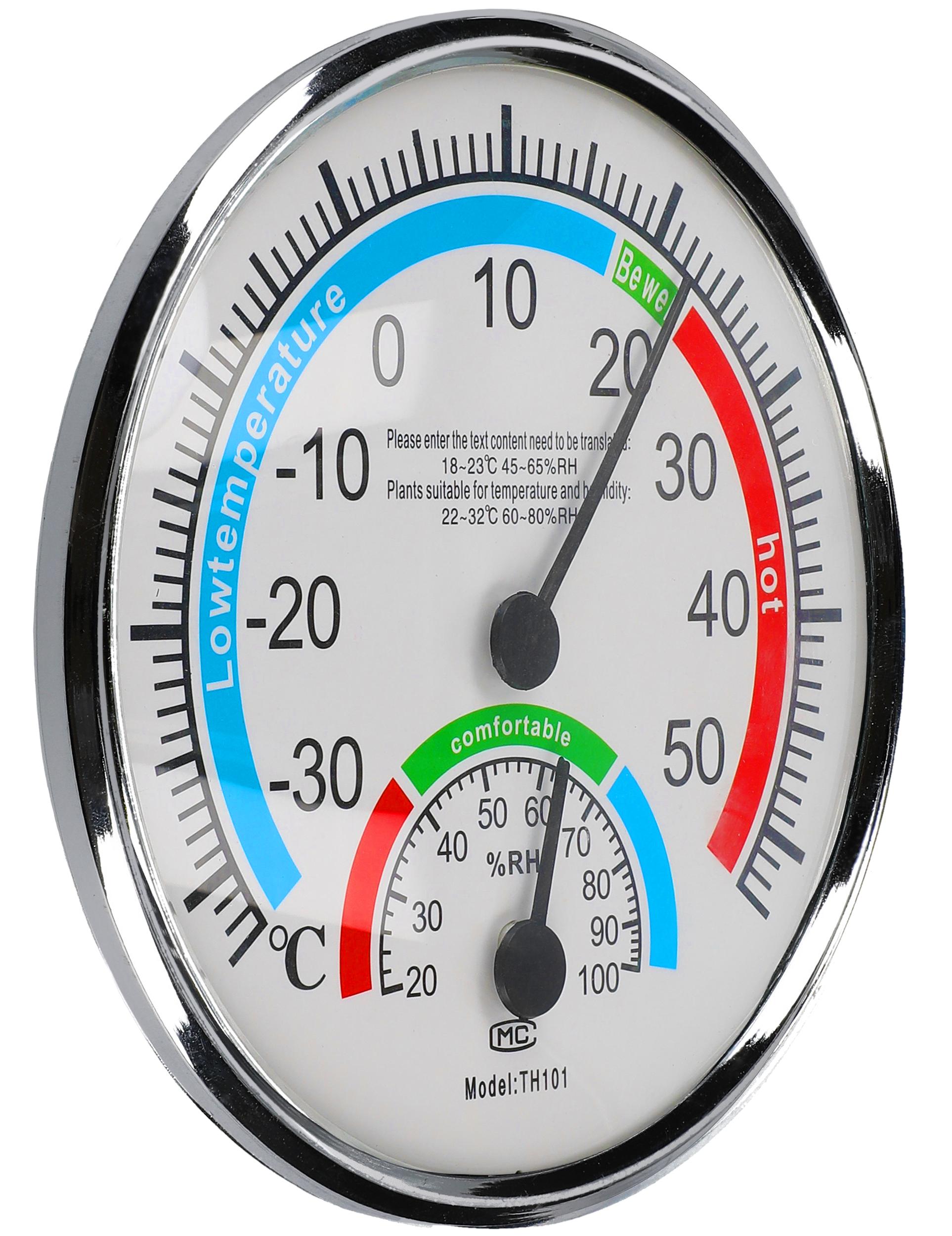 Thermometer Rund Luftfeuchtigkeit Messgerät Hygrometer Haushalt Silber