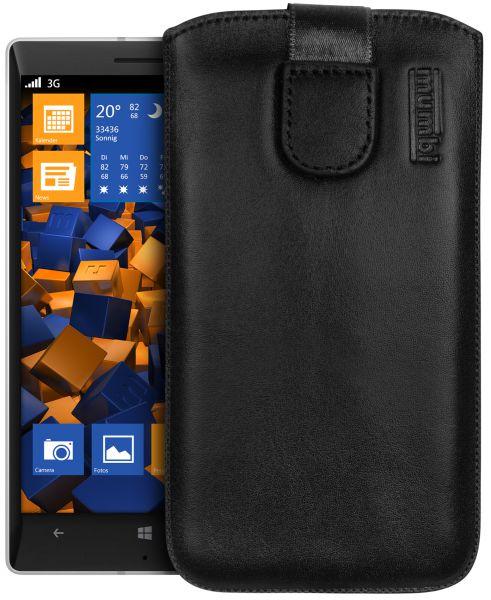 Leder Etui Tasche mit Ausziehlasche schwarz für Nokia Lumia 930