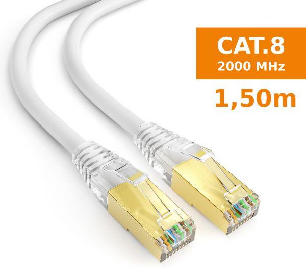 CAT 8 Rohkabel mit RJ45 Steckern Netzwerkkabel 1,5 Meter Kabel in Weiß
