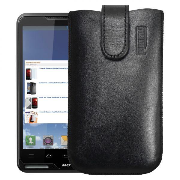 Leder Etui Tasche mit Ausziehlasche schwarz für Motorola Motoluxe