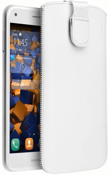 Leder Etui Tasche mit Ausziehlasche weiß für Huawei Y6 Pro 2017 / P9 Lite mini