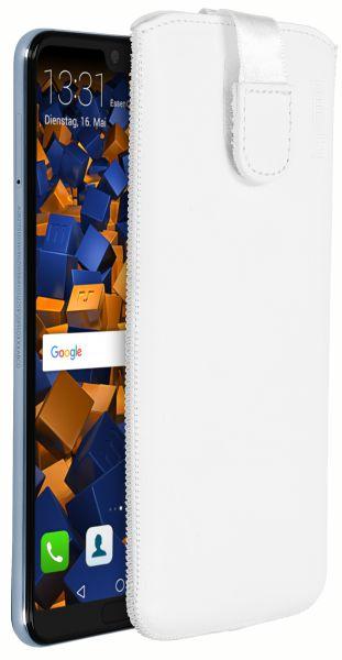 Leder Etui Tasche mit Ausziehlasche weiß für Huawei P20 Pro