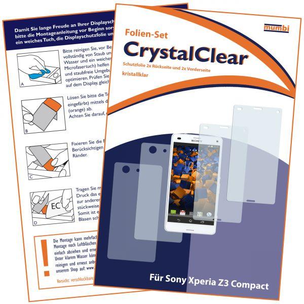 Displayschutzfolie 4 Stck. CrystalClear für Sony Xperia Z3 Compact (2x vorne und 2x hinten)
