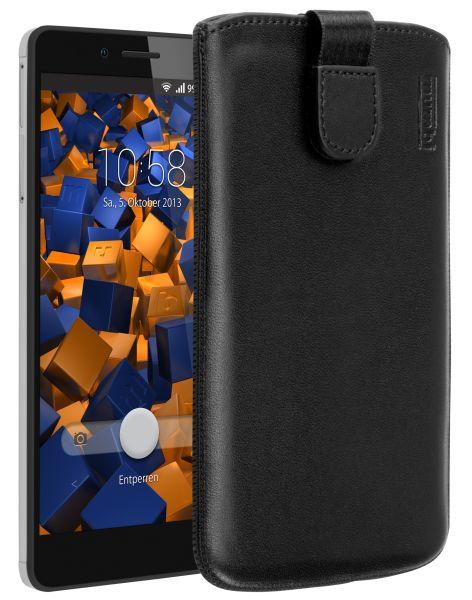 Leder Etui Tasche mit Ausziehlasche schwarz für Huawei Honor 5X