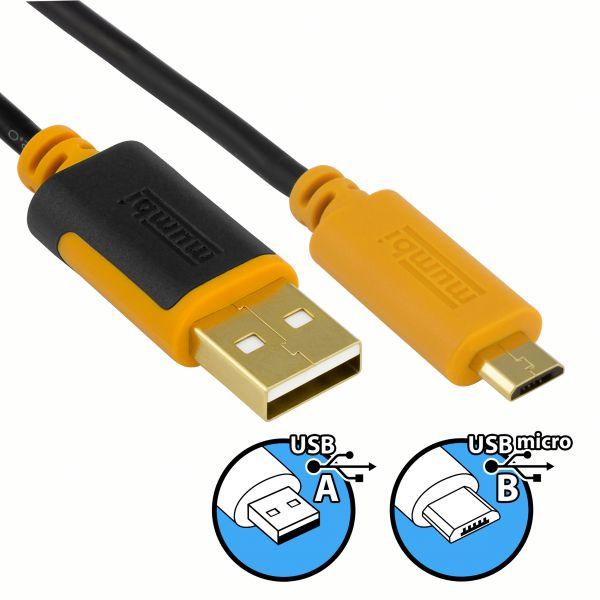 USB 2.0 Daten- und Ladekabel 2m - USB A Stecker auf Micro USB Stecker vergoldet