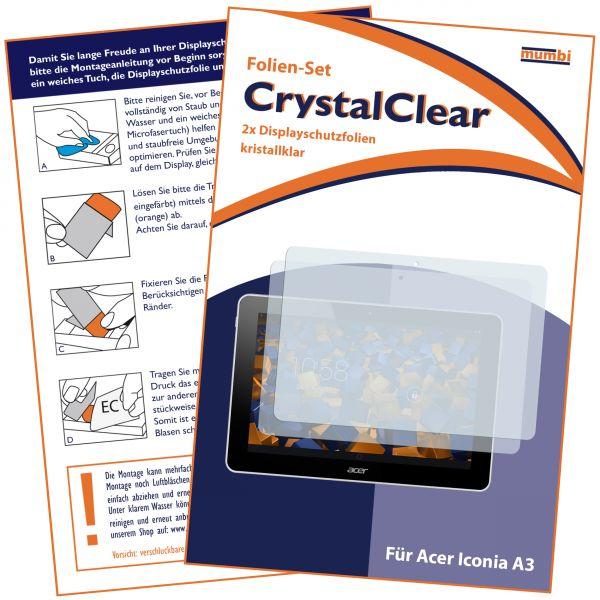 Displayschutzfolie 2 Stck. CrystalClear für Acer Iconia A3-A10