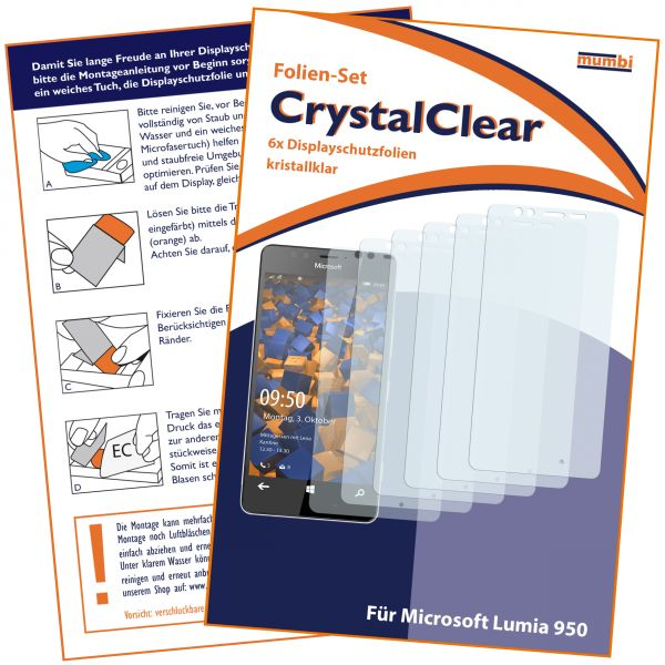 Displayschutzfolie 6 Stck. CrystalClear für Microsoft Lumia 950