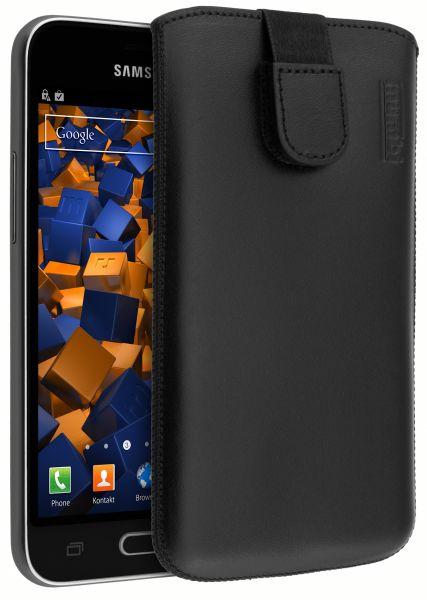 Leder Etui Tasche mit Ausziehlasche schwarz für Samsung Galaxy J1 (2016)