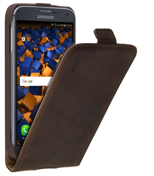 Flip Case Ledertasche Vintage braun für Samsung Galaxy S5 / Galaxy S5 Neo