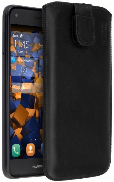 Leder Etui Tasche mit Ausziehlasche schwarz für Huawei Y6 Pro (2017) / P9 Lite mini