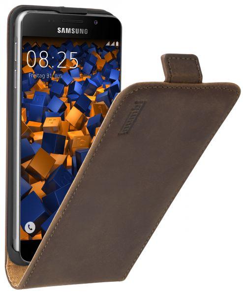 Flip Case Ledertasche braun für Samsung Galaxy A3 (2016)