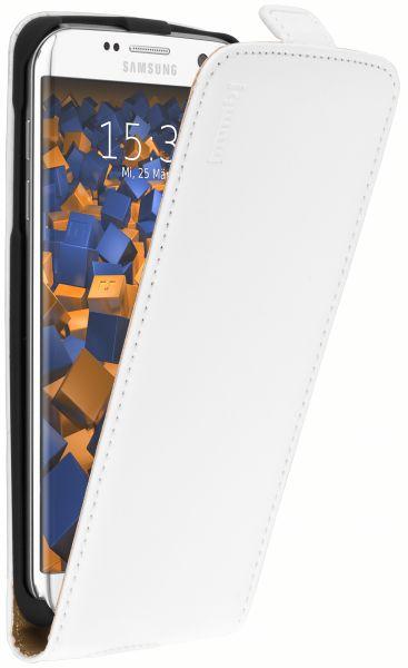 Flip Case Ledertasche weiß für Samsung Galaxy S7 Edge