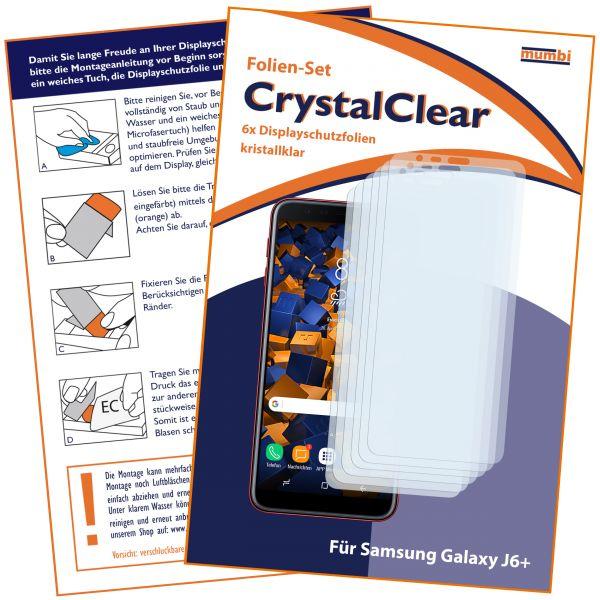 Displayschutzfolie 6 Stck. CrystalClear für Samsung Galaxy J6 Plus
