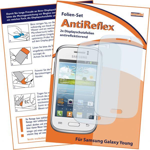Displayschutzfolie 2 Stck. Antireflex für Samsung Galaxy Young / Young Duos
