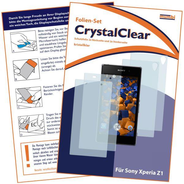 Displayschutzfolie 4 Stck. CrystalClear für Sony Xperia Z1 (2x vorne und 2x hinten)
