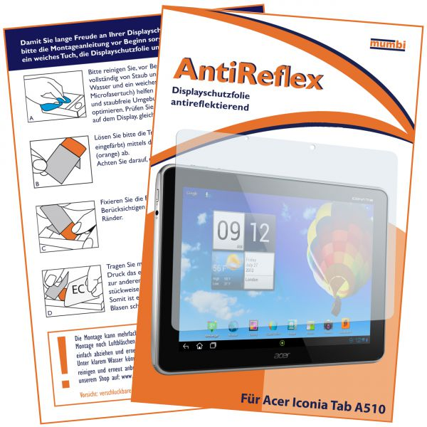 Displayschutzfolie AntiReflex für Acer Iconia Tab A510 / A511 / A700