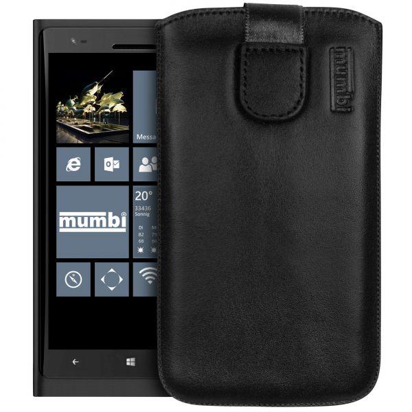 Leder Etui Tasche mit Ausziehlasche schwarz für Nokia Lumia 1520