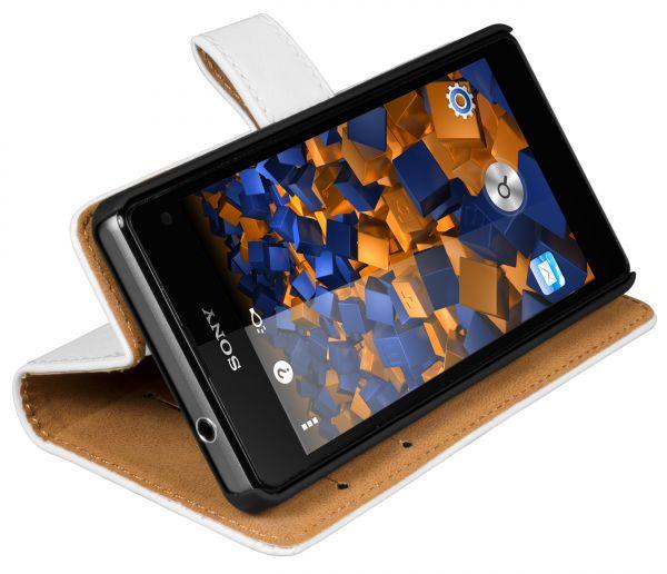 Bookstyle Ledertasche weiß für Sony Xperia Z1 Compact