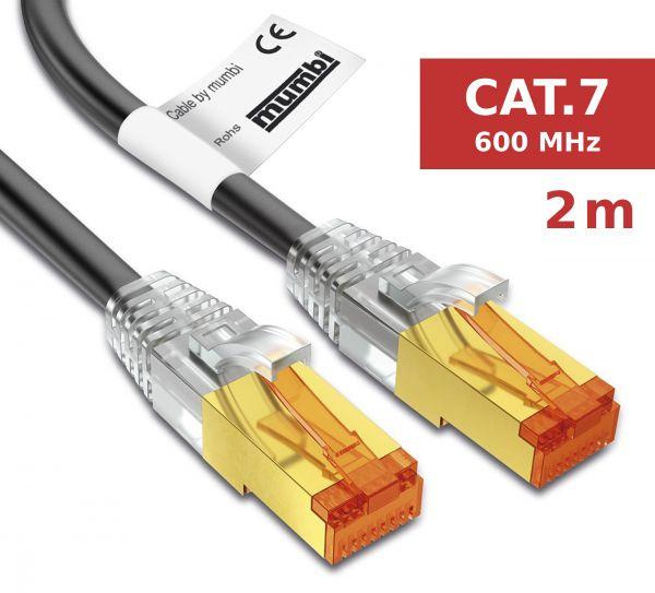 CAT 7 Rohkabel mit RJ45 Steckern Netzwerkkabel 2 Meter in Schwarz