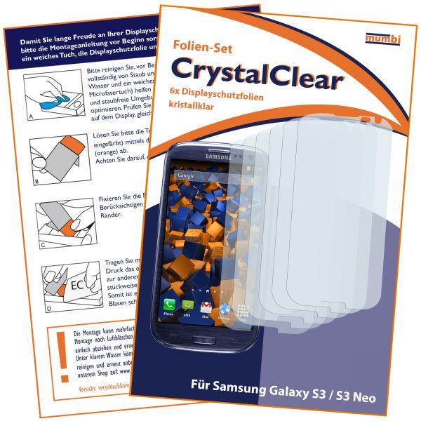 Displayschutzfolie 6 Stck. CrystalClear für Samsung Galaxy S3 / S3 Neo
