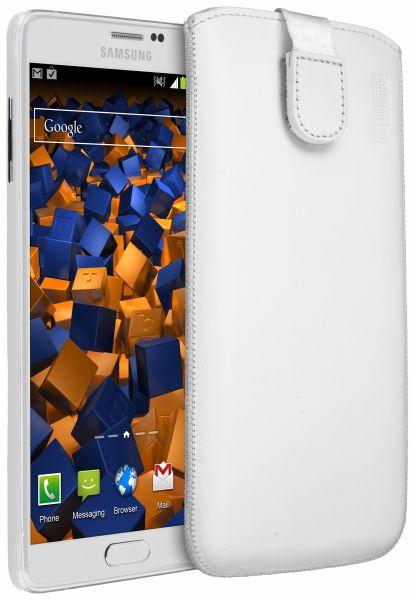 Leder Etui Tasche mit Ausziehlasche weiß für Samsung Galaxy Note 4