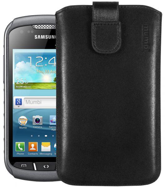 Leder Etui Tasche mit Ausziehlasche schwarz für Samsung Galaxy Xcover 2