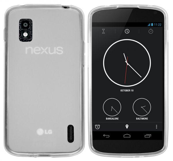 TPU Hülle weiß transparent für LG Google Nexus 4