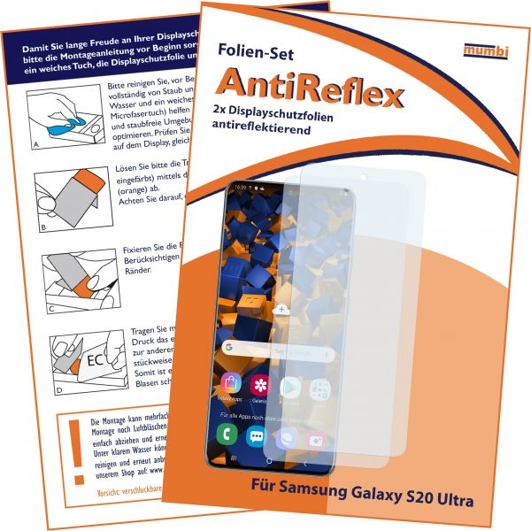 Displayschutzfolie 2 Stck.AntiReflex für Samsung Galaxy S20 Ultra