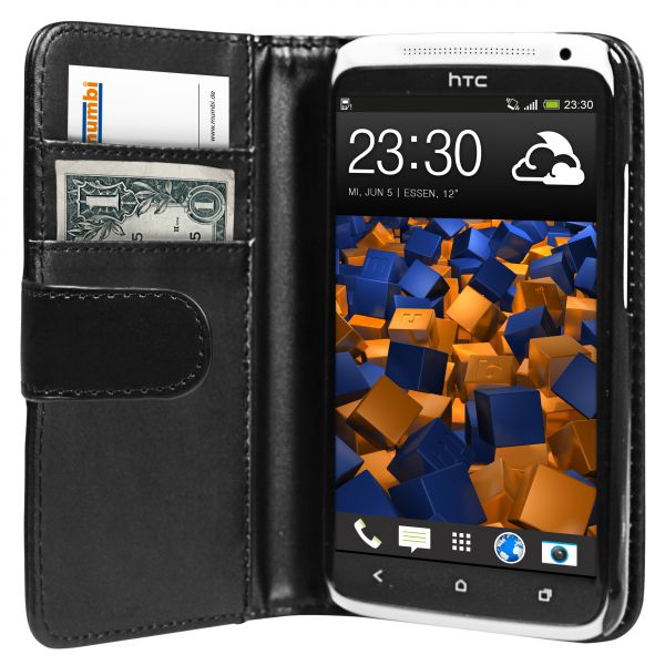 Bookstyle Tasche schwarz für HTC One X / X Plus