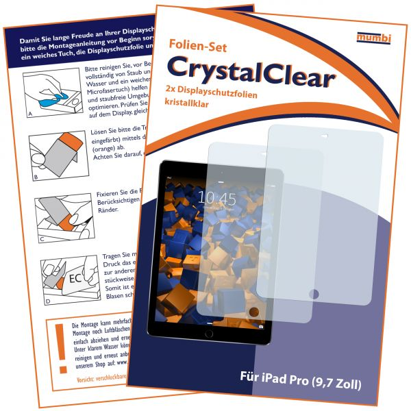 Displayschutzfolie 2 Stck. CrystalClear für iPad Pro (9,7 Zoll)