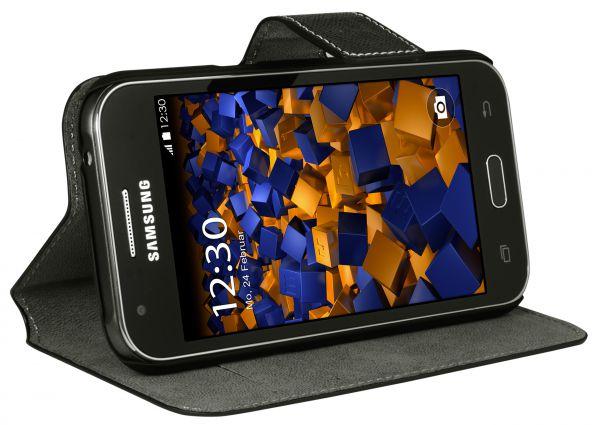 Bookstyle Tasche schwarz für Samsung Galaxy J1 (2015)