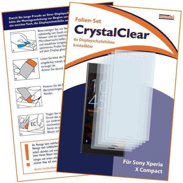 Displayschutzfolie 6 Stck. CrystalClear für Sony Xperia X Compact