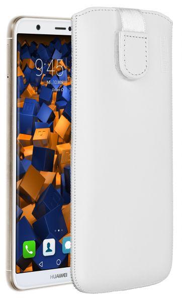 Leder Etui Tasche mit Ausziehlasche weiß für Huawei P Smart