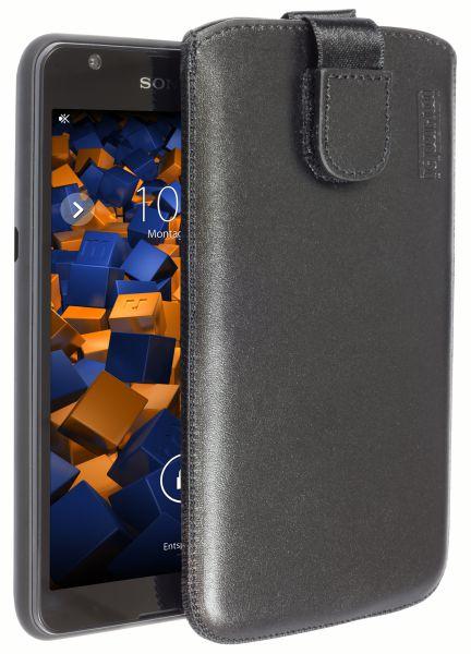 Leder Etui Tasche mit Ausziehlasche schwarz für Sony Xperia E4g (E4 passt nicht)