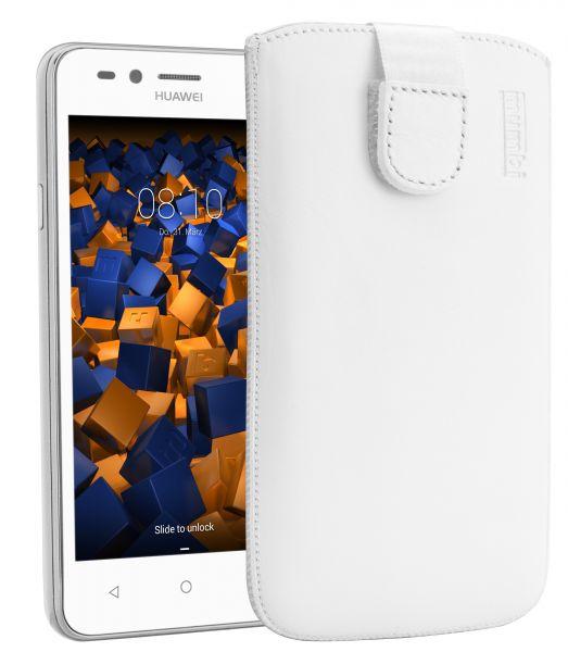 Leder Etui Tasche mit Ausziehlasche weiß für Huawei Y3 II