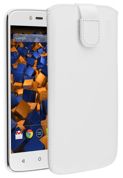 Leder Etui Tasche mit Ausziehlasche weiß für Lenovo Moto C Plus