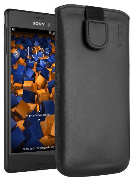 Leder Etui Tasche mit Ausziehlasche schwarz für Sony Xperia M4 Aqua