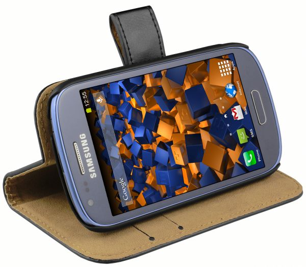 Bookstyle Ledertasche schwarz für Samsung Galaxy S3 Mini